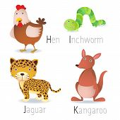 stock photo of inchworm  - Illustration of alphabet with animals from H to K Set 2 - JPG