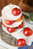 foto of serving tray  - Tasty ripe apples on serving tray on table close up - JPG