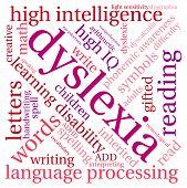 pic of dyslexia  - Dyslexia word cloud on a white background - JPG