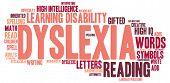 stock photo of dyslexia  - Dyslexia word cloud on a white background - JPG