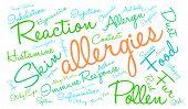 image of allergies  - Allergies word cloud on a white background - JPG
