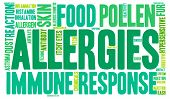 image of allergy  - Allergies word cloud on a white background - JPG