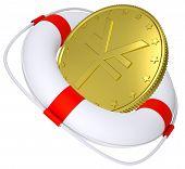 foto of yen  - Lifebuoy with golden yen on isolated white background - JPG