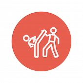 picture of karate  - Karate fighters thin line icon for web and mobile minimalistic flat design - JPG