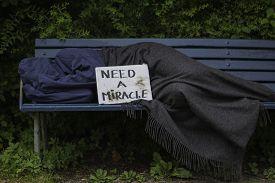 foto of scourge  - Homeless man sleeping on a park bench - JPG