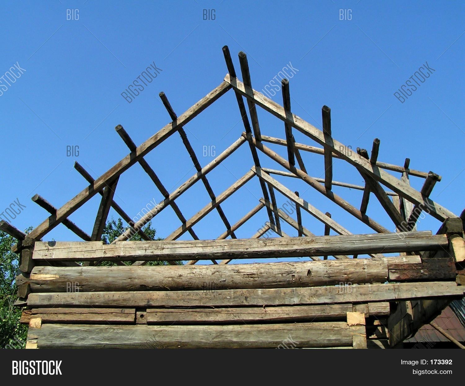 Wooden roof framework under image photo bigstock for Does new roof affect appraisal