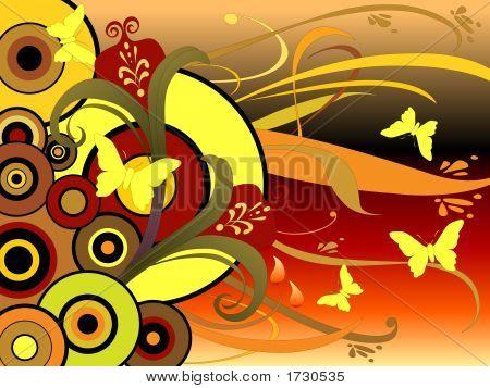 Floral Graphics Butterflies Circles Art 30