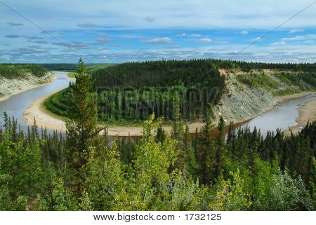 Bend In The Hay River, Nwt, Northern Canada.