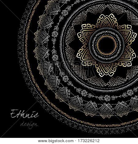 Sunny circle tribal ornament frame with text place in black background. Geometric black and white dark ethnic design. Vector illustration stock vector.
