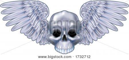 Winged Metallic Skull Motif