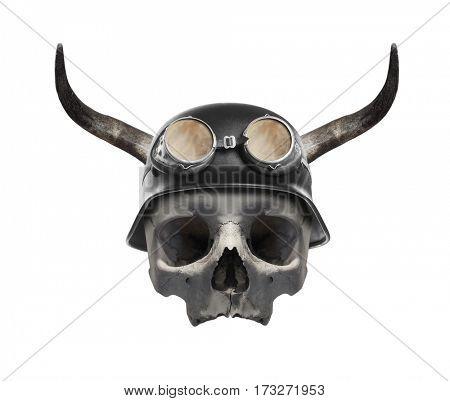 Skull of dead biker Helmet