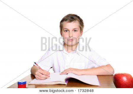 School Pupil At Desk