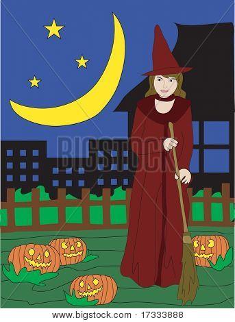 Halloween e uma jovem bruxa