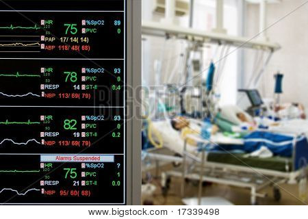 ICU monitor with several patients