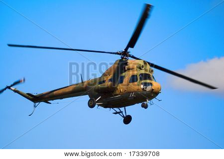 russian helicopter MI-2 in the sky