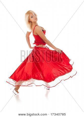 young dancing woman in long red dress