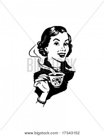 Kaffee-Lady - Retro ClipArt