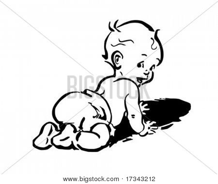 Baby In Diapers - Retro Clip Art