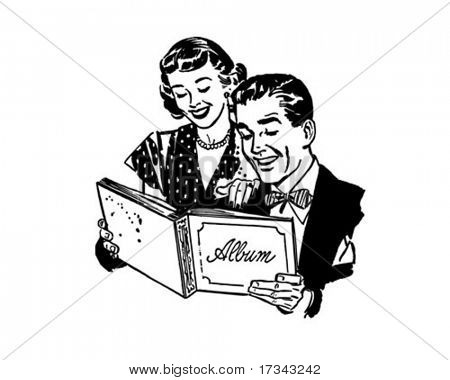 Couple With Photo Album - Retro Clip Art