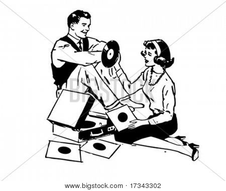 Listening To Records - Retro Clip Art