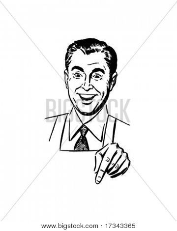 Man Pointing Down - Retro Clip Art