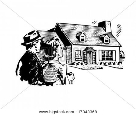 Our Brand New House - Retro Clip Art