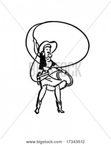 Cowgirl With Lasso - Retro Clip Art