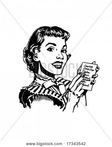 Lady With Grocery List - Retro Clip Art