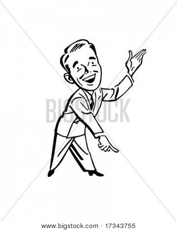 Pointing Man - Presenter - Retro Clip Art