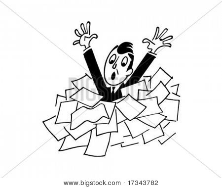 Man Drowning In Papers - Retro Clip Art