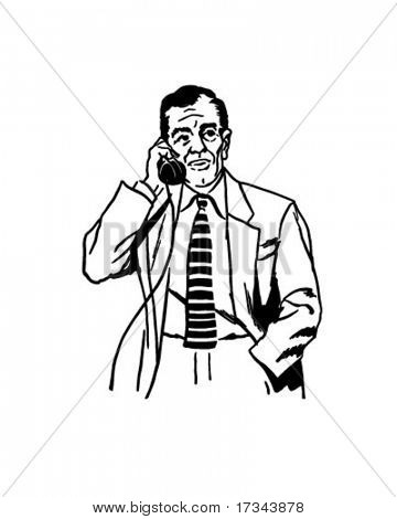 Hold On - Business Phonecall - Retro Clip Art