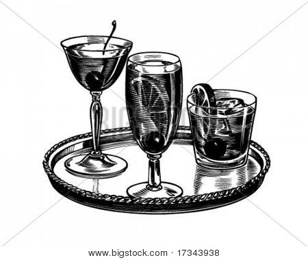 Tray Of Cocktails - Retro Clip Art