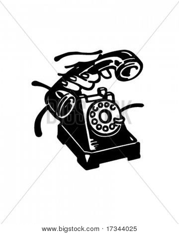 Pick Up The Phone - Retro Clip Art
