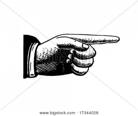 Pointing Hand 2 - Retro Clip Art