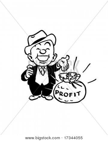 Big Profit - Man With Bag Of Cash - Retro Clip Art