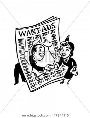 Mrs. Buyer And Mr. Seller - Want Ads - Retro Clip Art