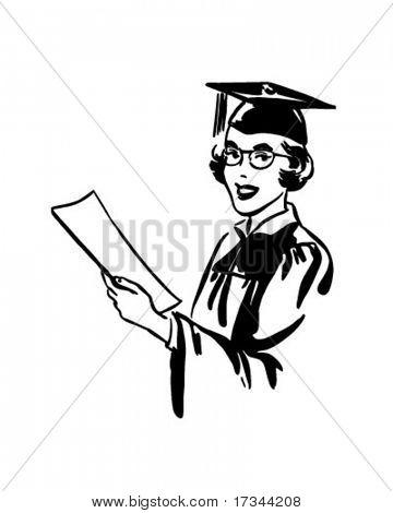 Female Grad - Retro Clip Art