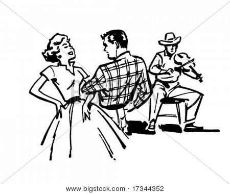 Pareja Square Dancing - Retro Clip Art