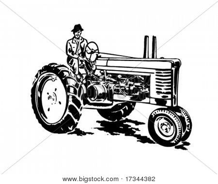 Farmer On Tractor - Retro Clip Art