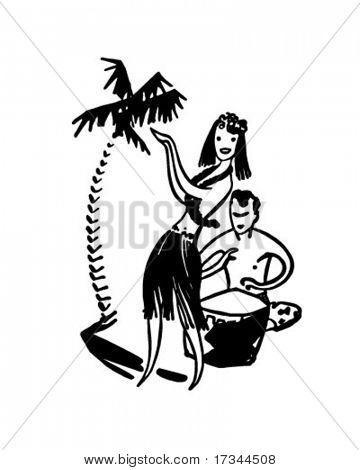 Hawaiian Couple - Retro Clip Art