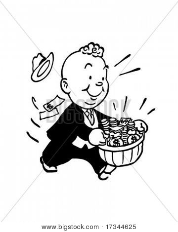 Baskets Of Dough - Retro Clip Art