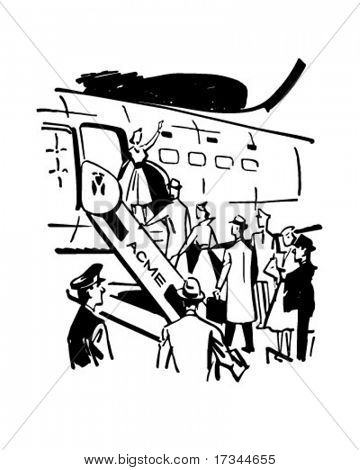 Boarding The Plane - Retro Clip Art