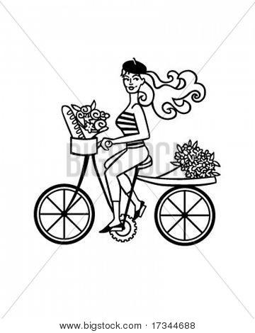 Französisch Mädchen auf Bike - Retro ClipArt
