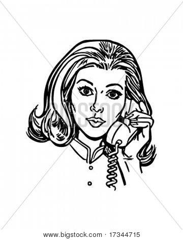 Phone Gal - Retro Clip Art
