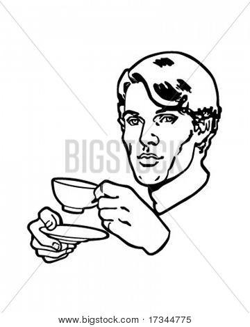 Tea Drinker - Retro Clip Art