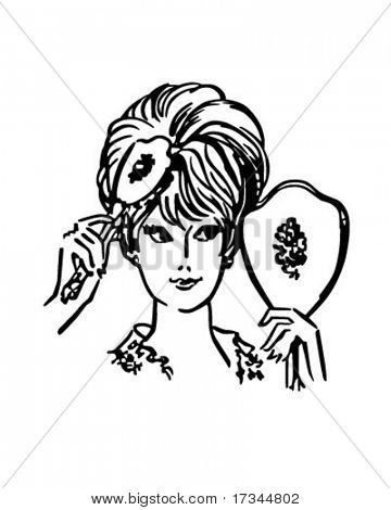 Woman Brushing Hair - Retro Clip Art