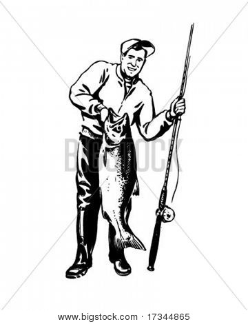 Fisherman With Catch Of The Day - Retro Clip Art