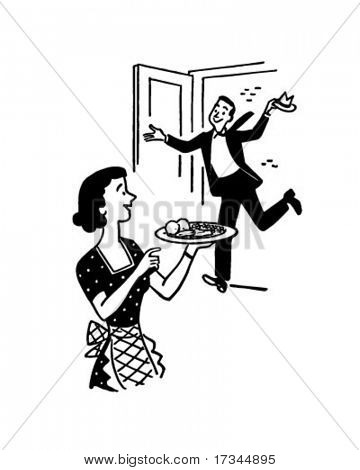 Home For Dinner - Retro Clip Art