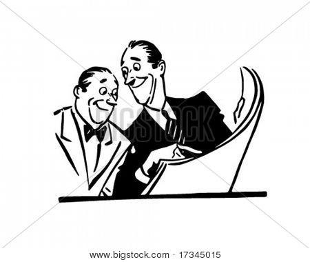 Zwei Männer lesen Zeitung - Retro ClipArt