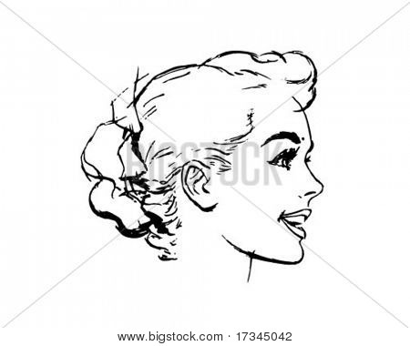Woman's Bun Hairstyle - Retro Clip Art